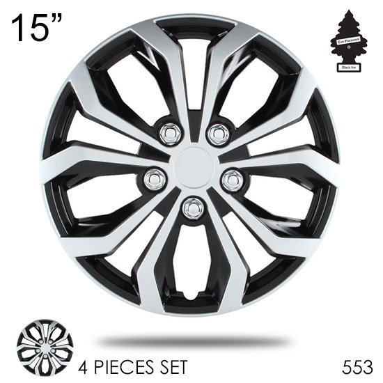 15 Inch Hubcaps Spyder Performance Black And Silver Wheel Covers Hub Cap Full Lug Skin Set 553 With Air Freshener