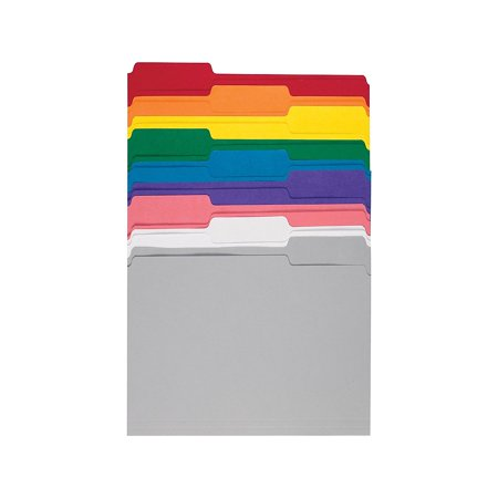 Staples Colored Top-Tab File Folders 3 Tab 9 Color Assortment Letter 100/PK 508804 Color Coded Colored File Folder