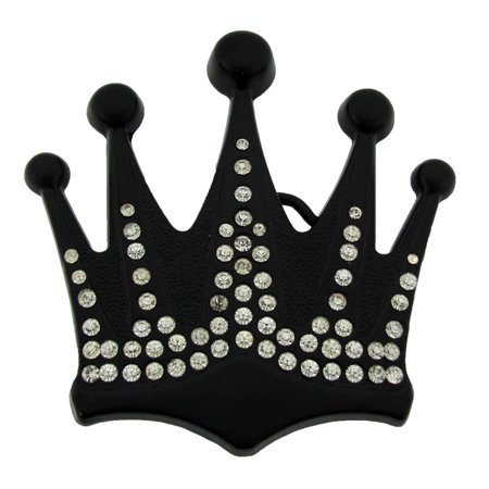 Princess Crown Costume (Royal Crown Belt Buckle Bling Bride Jet Black Metal Princess Fashion New)
