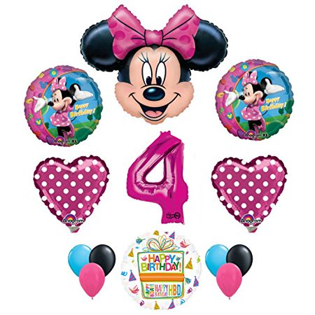 Minnie Mouse 4th Birthday Party Supplies and Pink Bow 13 pc Balloon Decorations for $<!---->