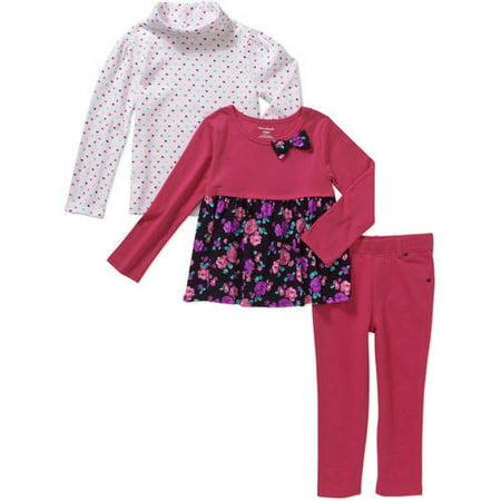 Garanimals Toddler Girl 3 Pc Printed Turtleneck, Babydoll Top & Jeggings Set