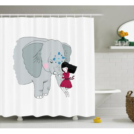 Elephant Shower Curtain Little Girl Sitting On The Trunk Of An With Simple Mandala