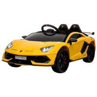 Electric power 12V Lamborghini Aventador ride on car for ONE KID with Remote Control Opening doors LED lights Leather Seat MP3 - Yellow