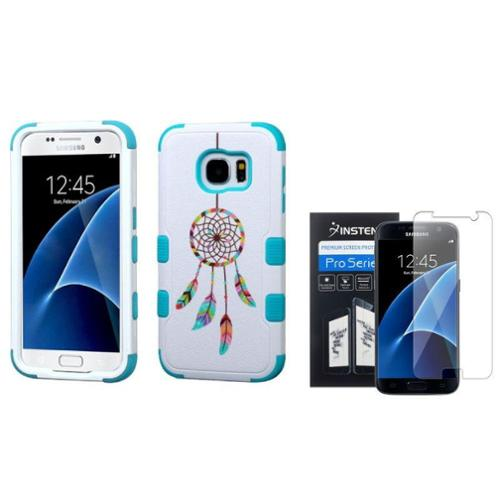 Insten Tuff Pastel Dreamcatcher Hard Hybrid Case For Samsung Galaxy S7 - Blue/White (+ Clear Screen Protector)