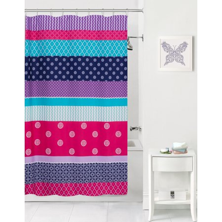 Mainstays Kids Mix It Up Purple Coordinating Fabric Shower Curtain ()