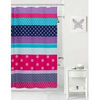 Mainstays Kids Mix It Up Purple Coordinating Fabric Shower Curtain