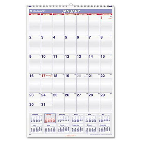 At A Glance Monthly Wall Calendar With Ruled Daily Blocks  20 X 30  White  2017