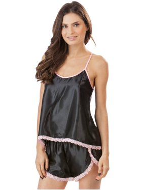 Women's Satin Cami and Boxer Shorts Sleep Set