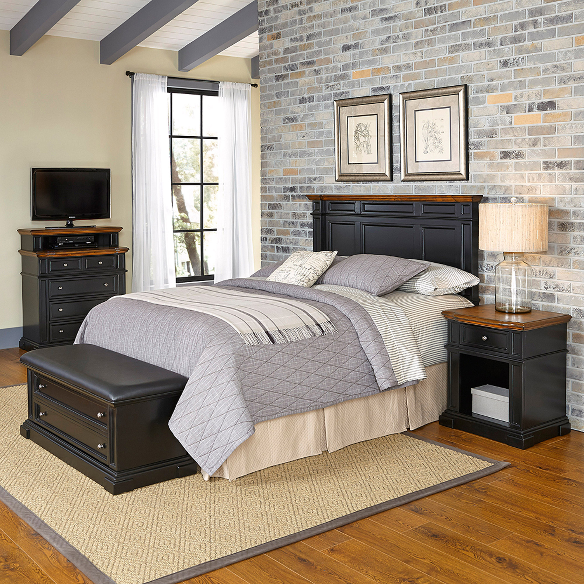 Home Styles Americana Queen/Full Headboard, Night Stand, Media Chest and Upholstered Bench