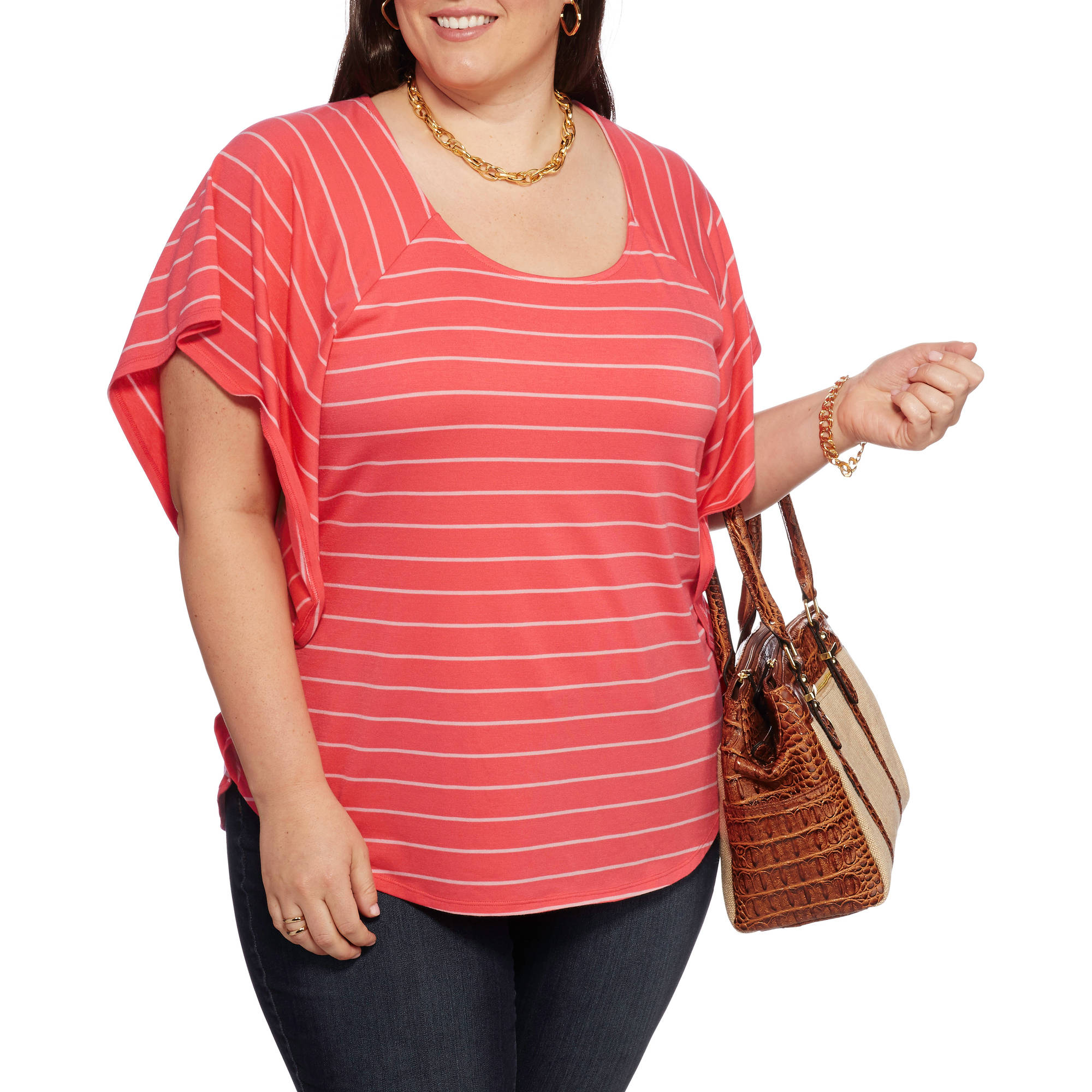 Faded Glory Women S Plus Size Woven Peasant Tunic With
