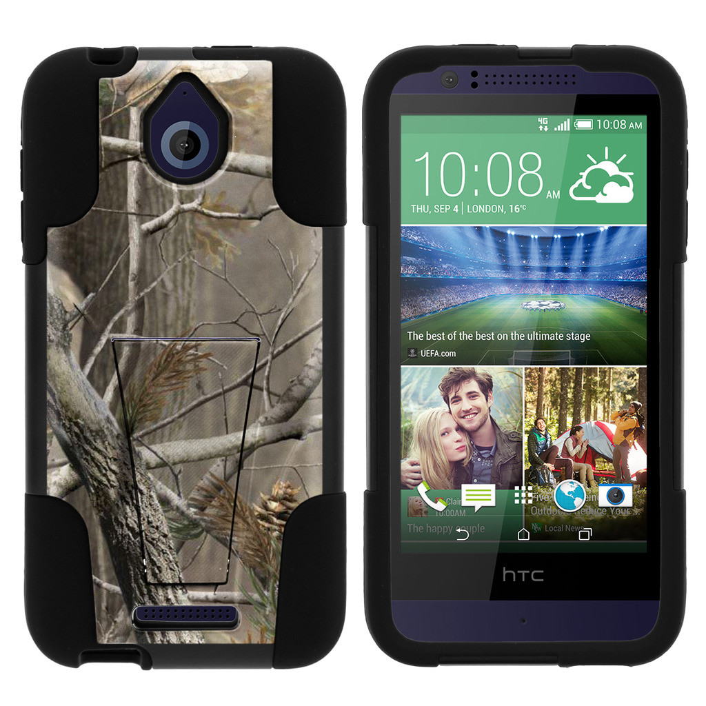 HTC Desire 510 STRIKE IMPACT Dual Layered Shock Resistant Case with Built-In Kickstand by Miniturtle® - Hunters Camo
