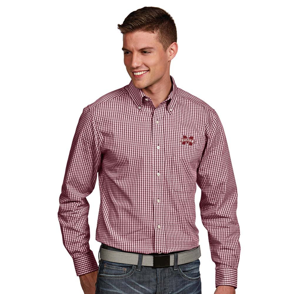 Mississippi State Mens Associate Button-Down Dress Shirt (Color: Maroon)