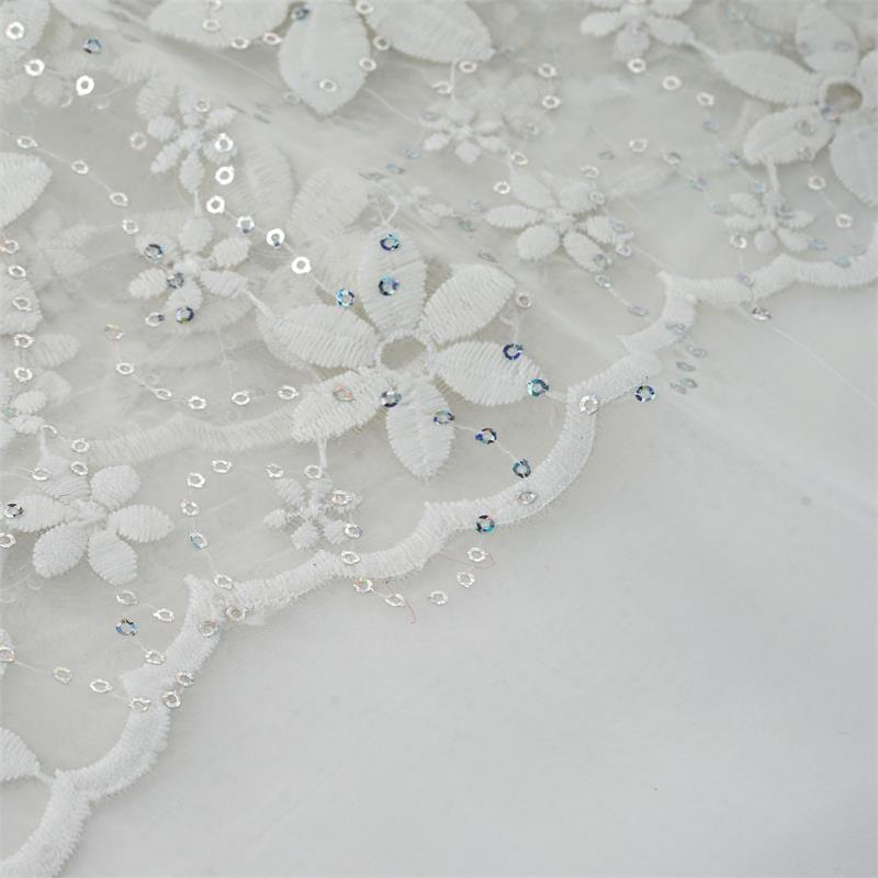 """Efavormart 54"""" x 4 yards Sequins on Embroidered Organza Fabric Bolt  - White"""