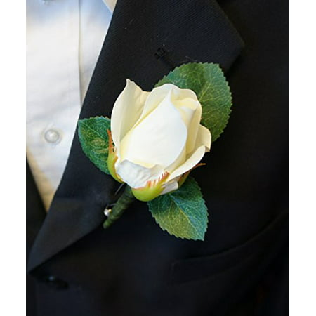 Boutonniere - Live-Feel Real Touch classic keep sake rose boutonniere. Pin included - Boys Boutonniere