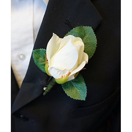 Boutonniere - Live-Feel Real Touch classic keep sake rose boutonniere. Pin included