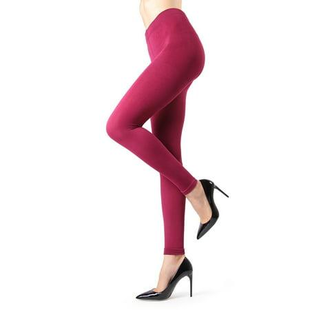 memoi winter fleece footless tights mo-346 berry small/medium