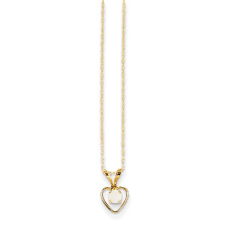 Tinkerbell Heart Charm - 14k Yellow Gold 3mm Opal Heart Chain Necklace Pendant Charm Kid For Women
