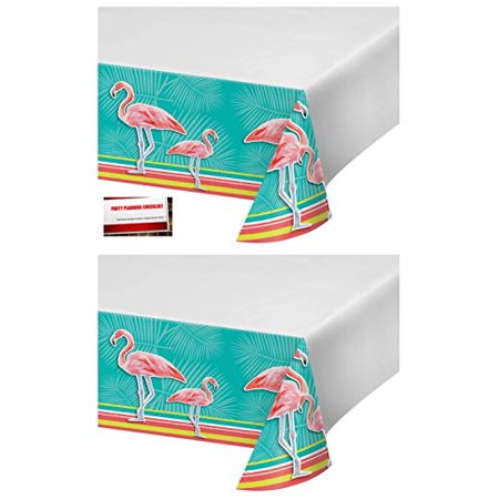 (2 Pack) Pink Flamingo Island Oasis Plastic Table Cover 54 X 102 Inches (Plus Party Planning Checklist by Mikes Super Store)](Plastic Flamingos Wholesale)