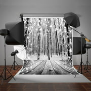 HelloDecor Polyster 5x7ft Winter Snow Photography Backdrop Glitter Snowflakes Forest Background Retro Wood for Photo Studio Prop
