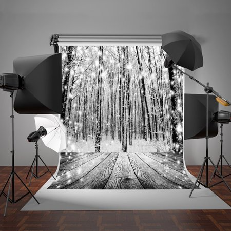 HelloDecor Polyster 5x7ft Winter Snow Photography Backdrop Glitter Snowflakes Forest Background Retro Wood for Photo Studio Prop - Prom Backgrounds