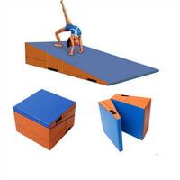 Folding Gymnastics Incline Mat Cheese Wedge Skill Shape Tumbling Mat Folding Incline Mat Slope Cheese Gymnastics Gym Exercise Aerobics Tumbling Wedge