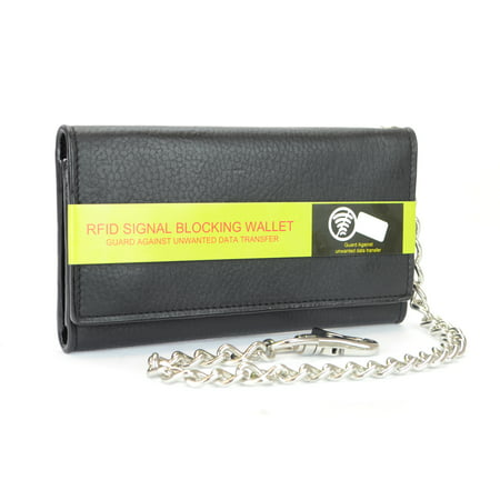 Men's RFID Signal Blocking Tri-Fold Trucker's Wallet in Genuine Black Leather with Heavy Duty Chain