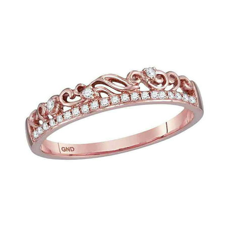 Diamond Accent Floral Ring (10kt Rose Gold Womens Round Diamond Floral Accent Stackable Band Ring 1/12)