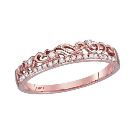 10kt Rose Gold Womens Round Diamond Floral Accent Stackable Band Ring 1/12 Cttw (Diamond Floral Band Ring)