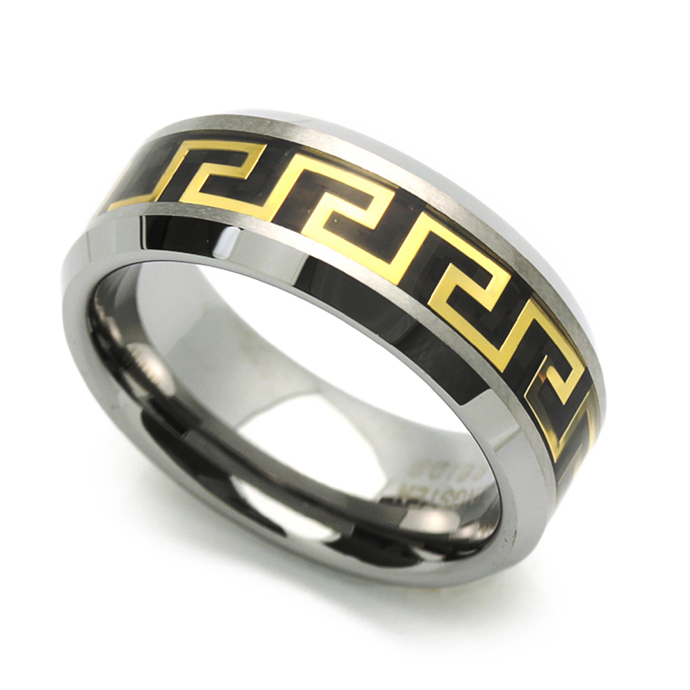 Women's 8MM Comfort Fit Tungsten Carbide Wedding Band Greek Key Inlaid Ring (7 to 14), 8 by