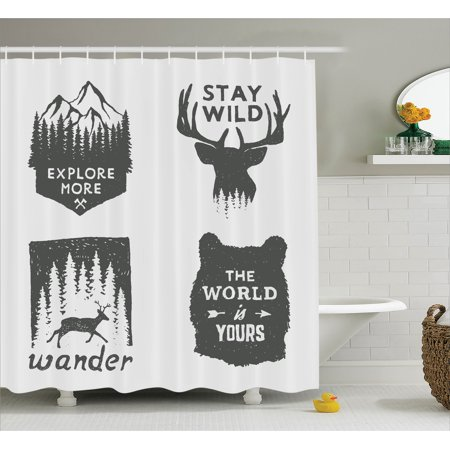 Quotes Decor Shower Curtain Set, Wilderness Emblems
