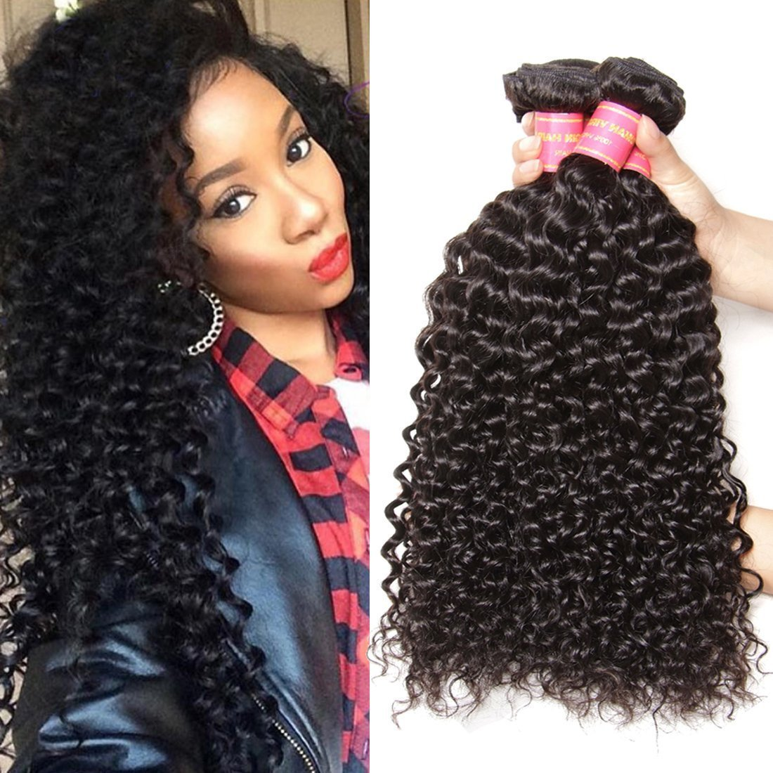 Jolia Hair Virgin Brazilian Curly Hair Weave 3 Bundles 7a