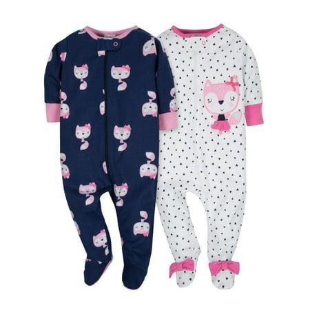 Zip Front Sleep N Play, 2pk (Baby Girl) - Sleeping Beauty Baby Clothes