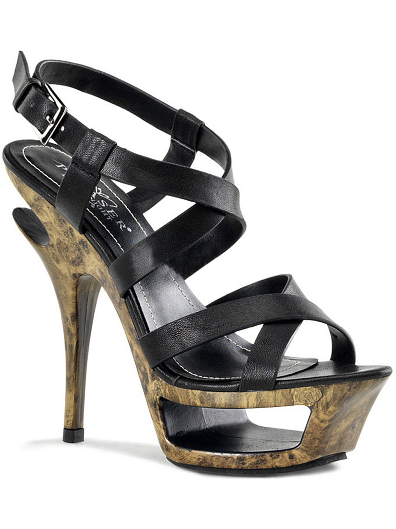 Womens Black Leather Sandals Marble Print Faux Wood Platform 5 1/2 Inch Heels
