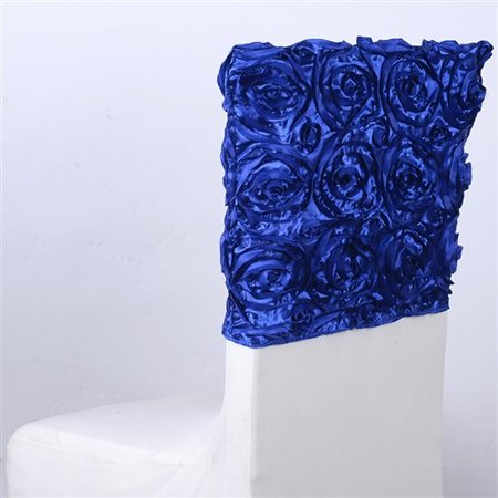 1 Day Ship (16 Inch x 14 Inch Rosette Satin Chair Top Covers (Royal Blue), Ship in 1 Business Day. By)