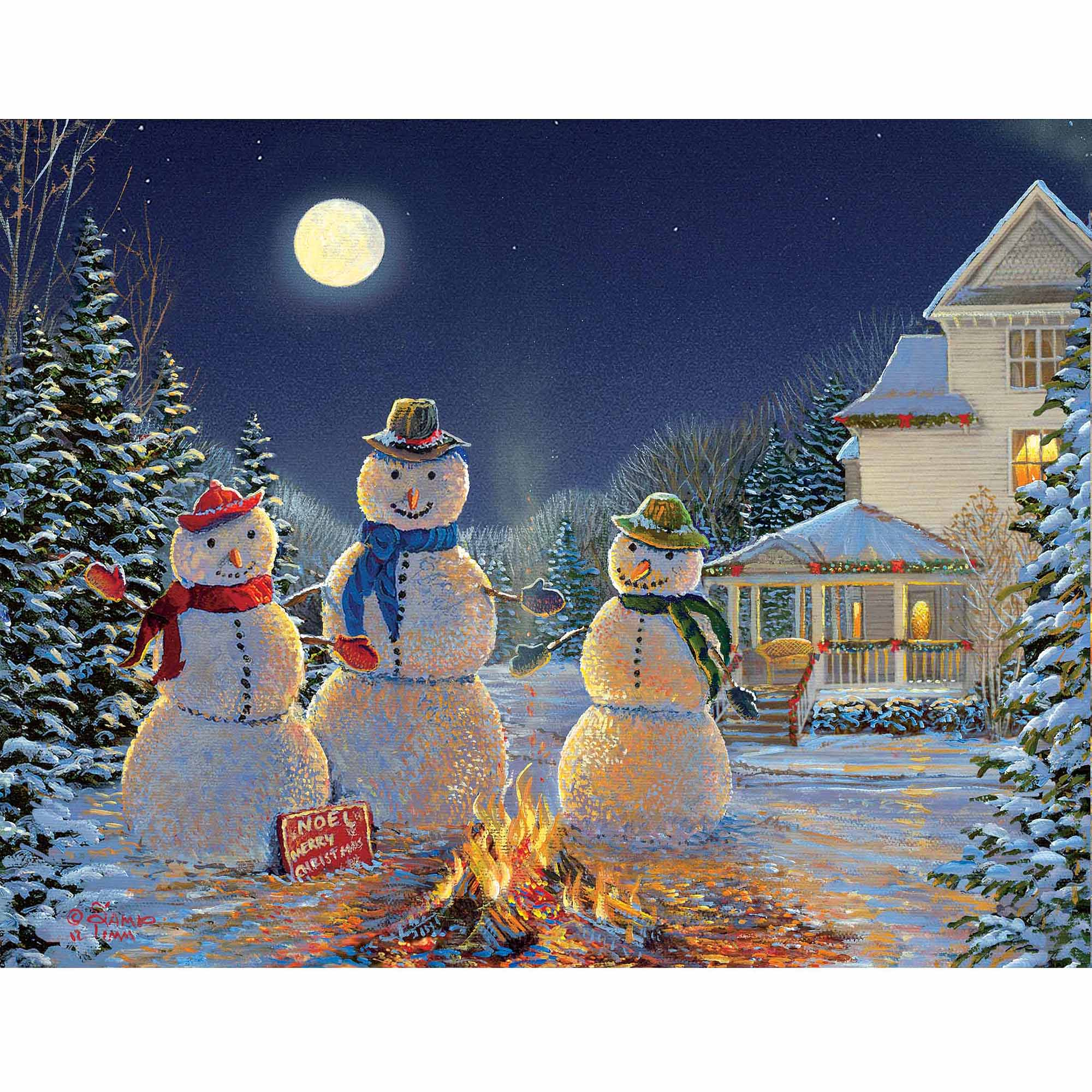 Moonlit Snowmen Boxed Christmas Card