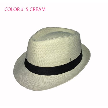 Straw Fedora Hat Trilby Cuban Cap Summer Beach Sun Panama Short Brim Men Women (White Felt Fedora)