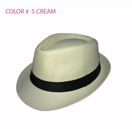 Straw Fedora Hat Trilby Cuban Cap Summer Beach Sun Panama Short Brim Men Women (Hat Summer)