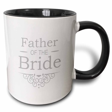 3dRose Father of the Bride in silver - Wedding - part of matching marriage party set - grey gray swirls, Two Tone Black Mug, 11oz](Silver Daddies In Suits)