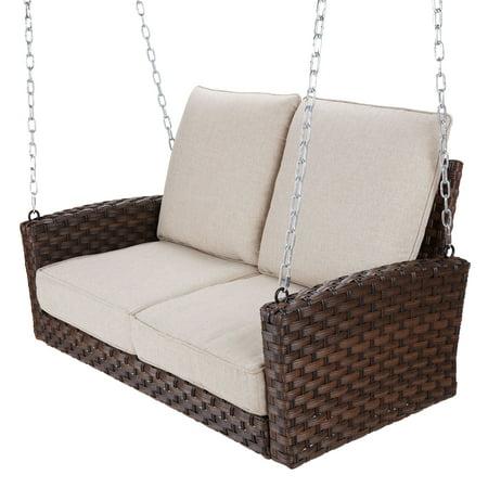 Better Homes & Gardens Hensley Outdoor Wicker Porch Swing with Beige (Resin Wicker Porch Swing)
