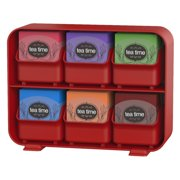 Mind Reader 6 Removable Drawers Tea Bag Holder Storage Organizer Red