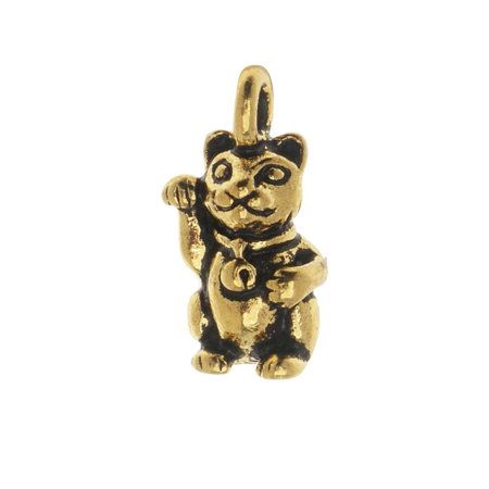 TierraCast Pewter Charm, Beckoning Kitty Cat with Loop 17mm, 1 Piece, Antiqued Gold (Cat Charm)