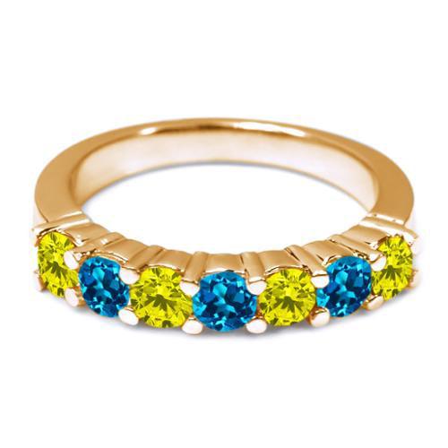 1.40 Ct Round Swiss Blue VS Topaz 14K White Gold Wedding Band Ring