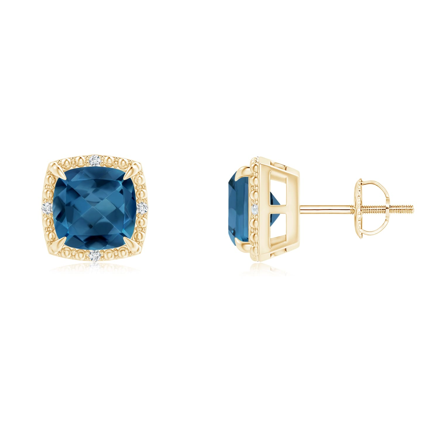 Angara Cushion Blue Sapphire Stud Earrings with Diamond Accents adIA6