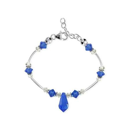 Swarovski Blue Bracelets - Gem Avenue 925 Sterling Silver Blue Crystal Bracelet 7 to 8.5