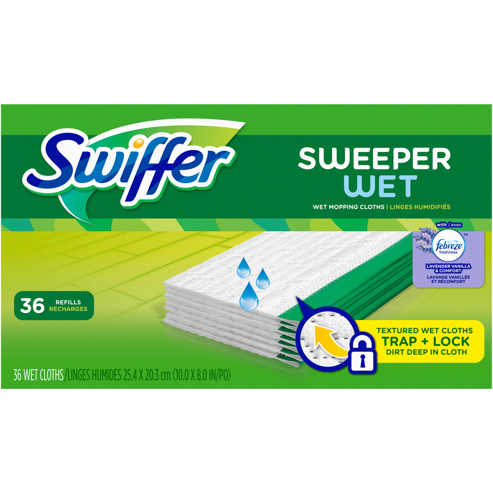 Swiffer Sweeper Wet Mopping Refills with Febreze Freshness, Lavender Vanilla and Comfort (choose your size)