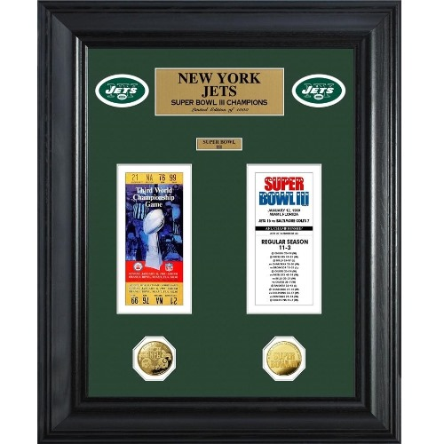 NFL Framed Wall Art by The Highland Mint, New York Jets - Super Bowl Ticket and Coin
