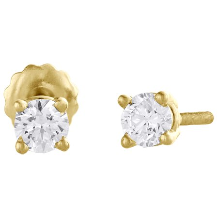 14K Yellow Gold Round Cut Diamond Solitaire Studs 4 Prong Basket Earrings 1/2 CT