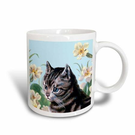 Gray Tabby Cats - 3dRose Cute grey kitten - vintage art tabby cat with sweet blue eyes in garden - white flowers - gray kitty, Ceramic Mug, 15-ounce