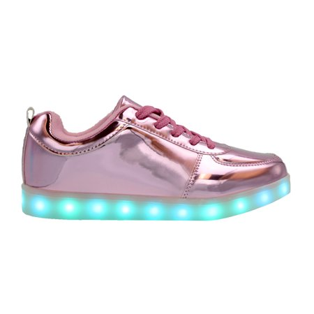 Galaxy LED Shoes Light Up USB Charging Low Top Kids Sneakers (Pink Glossy)](Shoe Led)