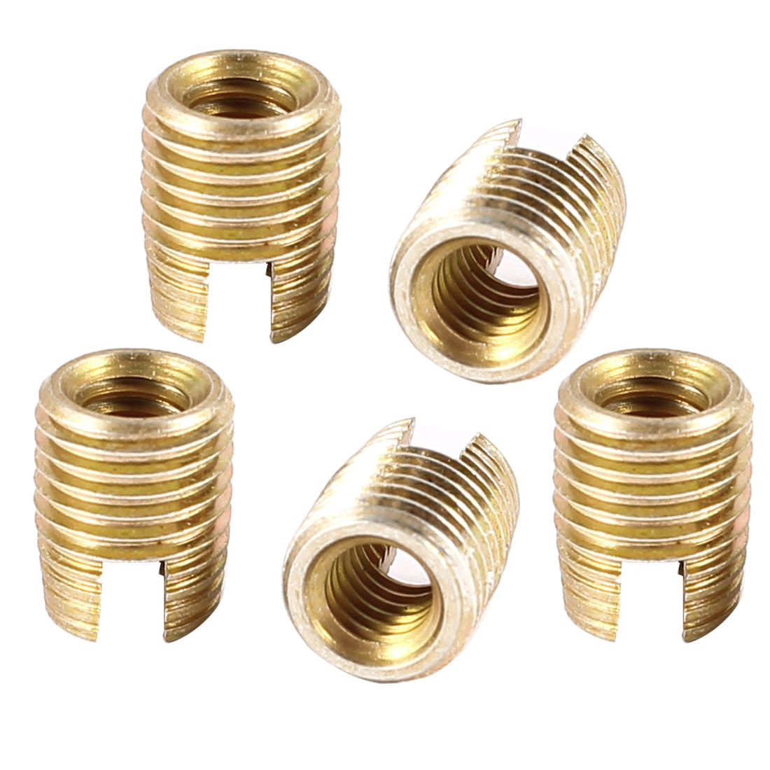 Unique Bargains 5 x Brass Tone 8mmx6.35mmx4mm Disassemble Self Tapping Threaded Inserts